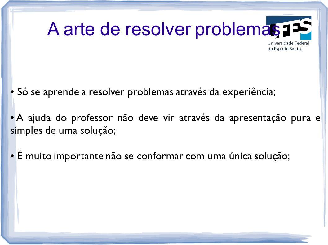 A arte de resolver problemas Só se aprende a resolver problemas através da experiência; A ajuda do professor não deve vir através da apresentação pura