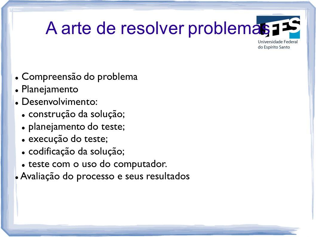 A arte de resolver problemas Compreensão do problema Planejamento Desenvolvimento: construção da solução; planejamento do teste; execução do teste; co