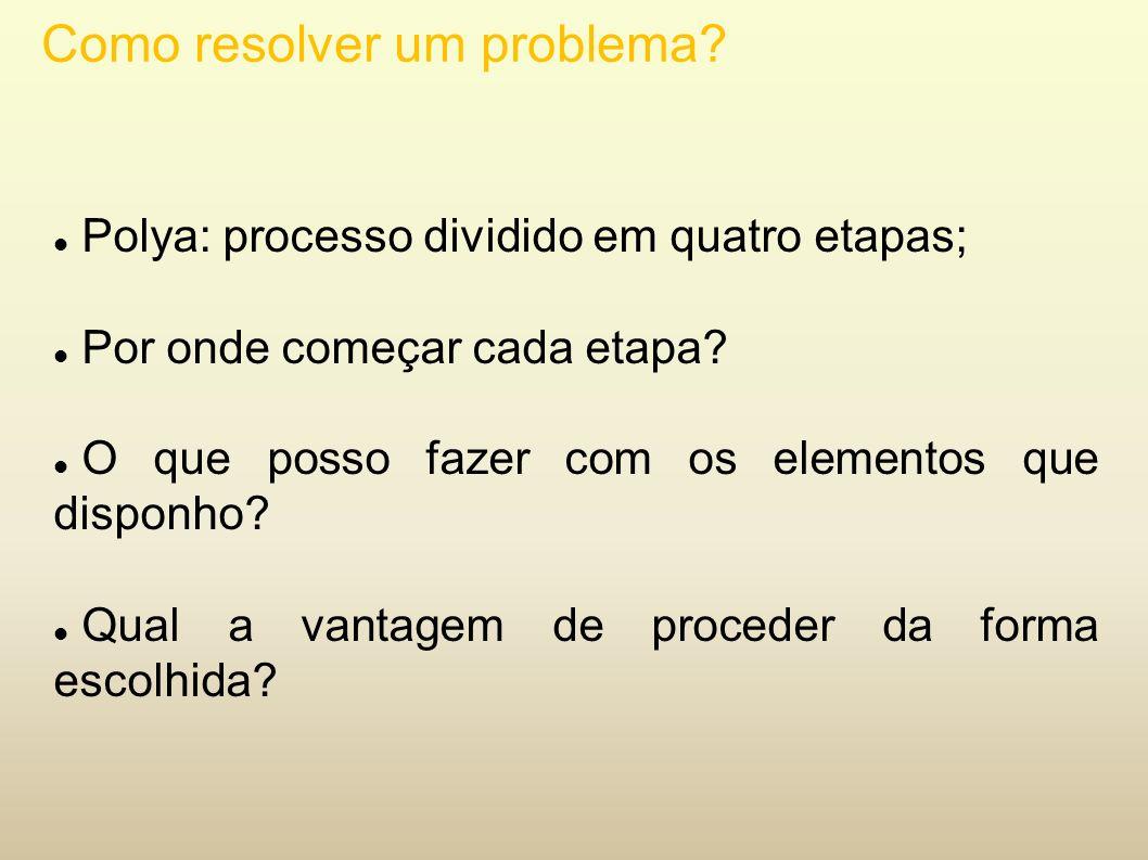 Como resolver um problema? Polya: processo dividido em quatro etapas; Por onde começar cada etapa? O que posso fazer com os elementos que disponho? Qu