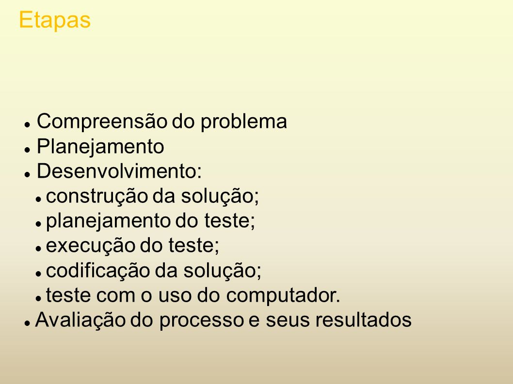 Etapas Compreensão do problema Planejamento Desenvolvimento: construção da solução; planejamento do teste; execução do teste; codificação da solução;