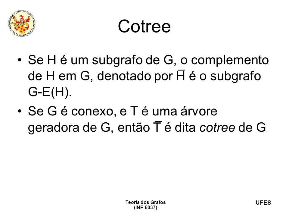 UFES Teoria dos Grafos (INF 5037) Cotree Se H é um subgrafo de G, o complemento de H em G, denotado por H é o subgrafo G-E(H). Se G é conexo, e T é um