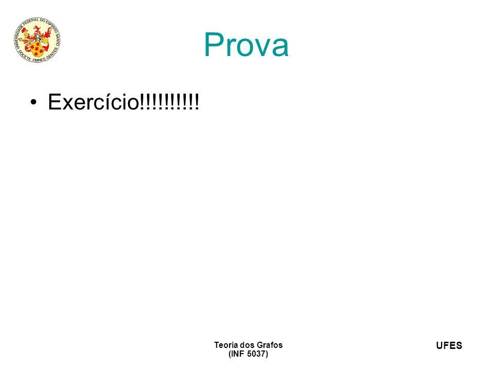 UFES Teoria dos Grafos (INF 5037) Prova Exercício!!!!!!!!!!