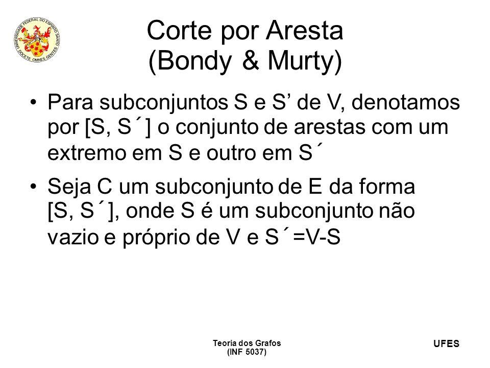 UFES Teoria dos Grafos (INF 5037) Corte por Aresta (Bondy & Murty) Para subconjuntos S e S de V, denotamos por [S, S´] o conjunto de arestas com um ex