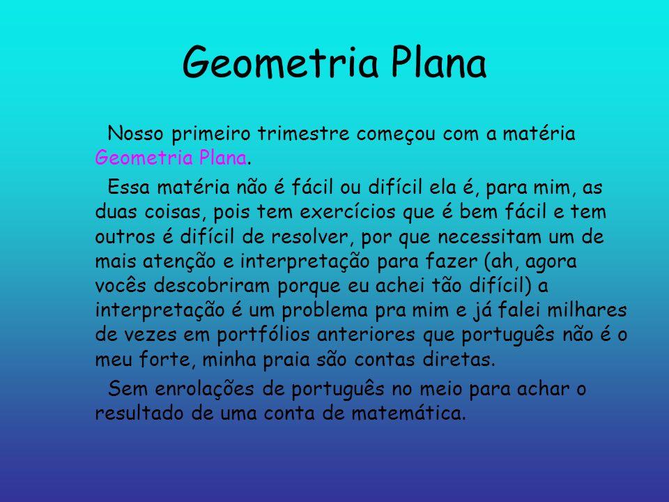 Geometria Plana Nosso primeiro trimestre começou com a matéria Geometria Plana. Essa matéria não é fácil ou difícil ela é, para mim, as duas coisas, p