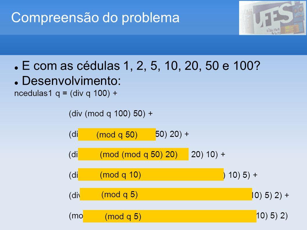 Avaliação do processo e seus resultados ncedulas q = n100 + n50 + n10 + n5 + n1 where n100 = div q 100 r100 = mod q 100 n50 = div r100 50 r50 = mod q 50 n10 = div r50 10 r10 = mod q 10 n5 = div r10 5 n1 = mod r10 5