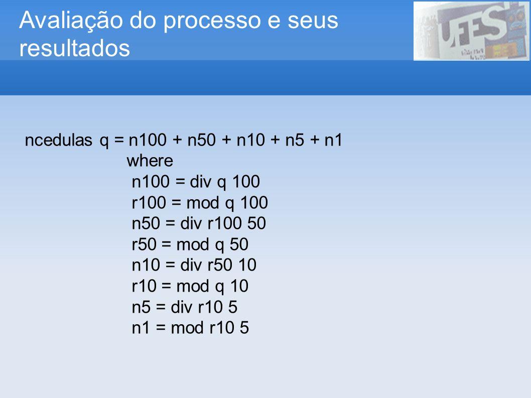 Avaliação do processo e seus resultados ncedulas q = n100 + n50 + n10 + n5 + n1 where n100 = div q 100 r100 = mod q 100 n50 = div r100 50 r50 = mod q
