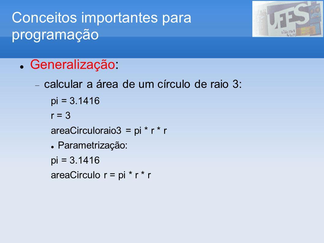 Conceitos importantes para programação Instanciação: a mesma definição pode ser usada para vários exemplos do mesmo problema calcular a área de um círculo de raio 3: pi = 3.1416 areaCirculo r = pi * r * r Hugs> areaCirculo 3 28.2735 Hugs> areaCirculo 4 50.2656