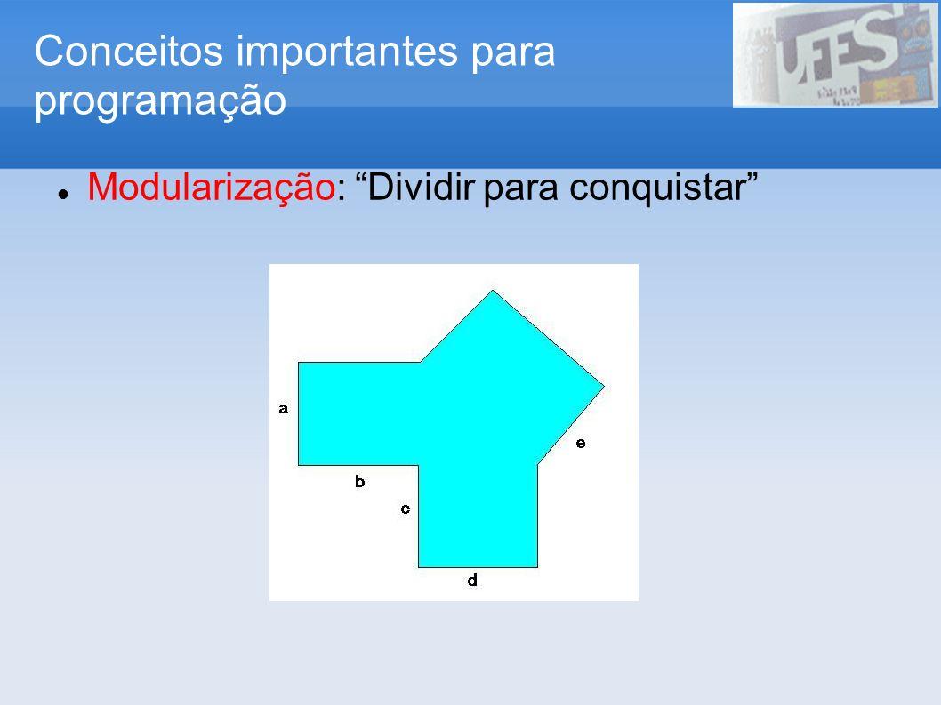 Conceitos importantes para programação Modularização: Dividir para conquistar