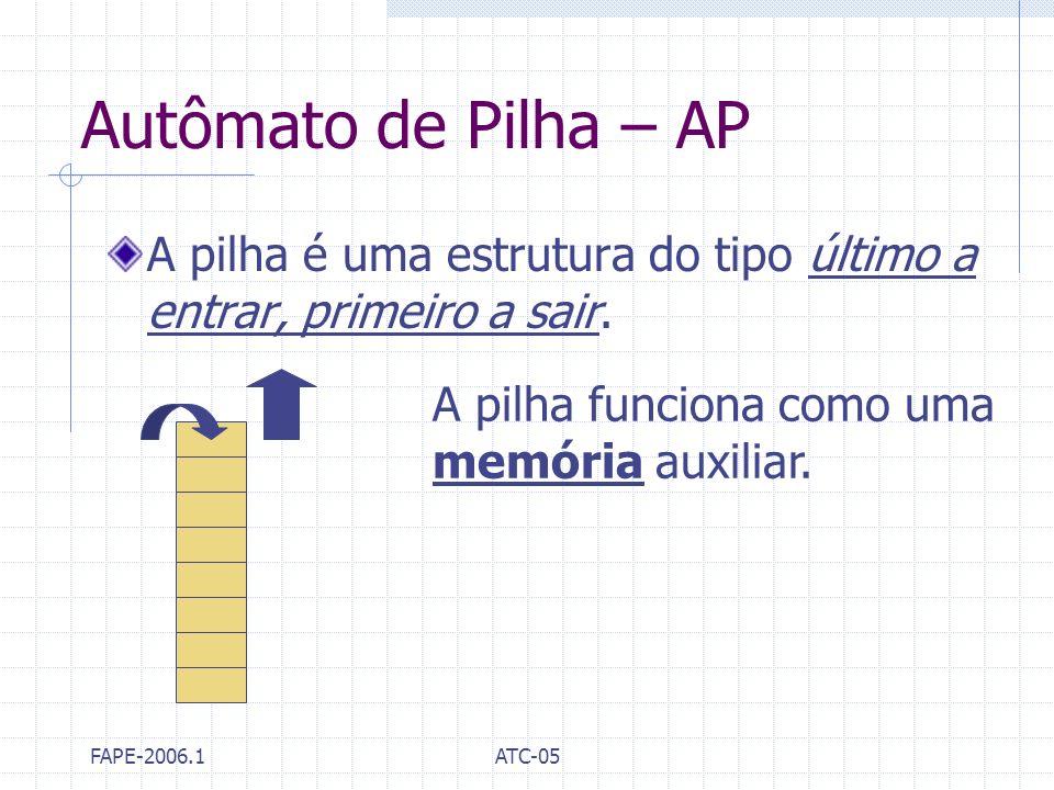 FAPE-2006.1ATC-05 Autômato de Pilha – AP A pilha é uma estrutura do tipo último a entrar, primeiro a sair. A pilha funciona como uma memória auxiliar.