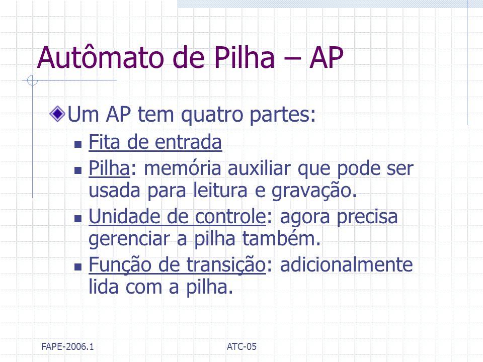 FAPE-2006.1ATC-05 Autômato de Pilha – AP Um AP tem quatro partes: Fita de entrada Pilha: memória auxiliar que pode ser usada para leitura e gravação.