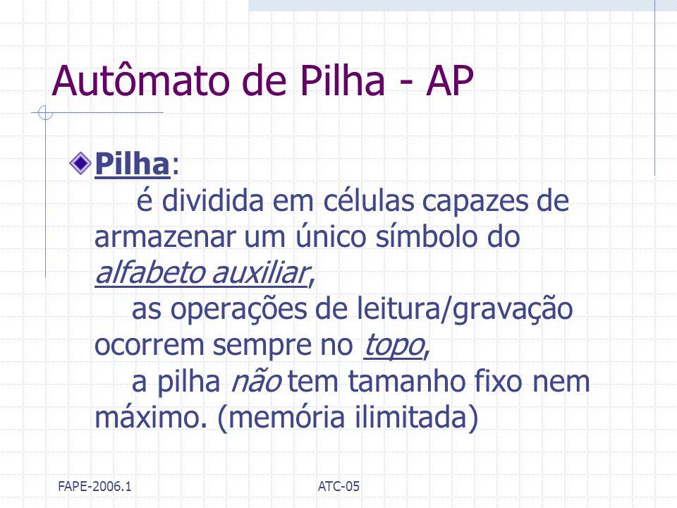 FAPE-2006.1ATC-05 Autômato de Pilha - AP Pilha: é dividida em células capazes de armazenar um único símbolo do alfabeto auxiliar, as operações de leit