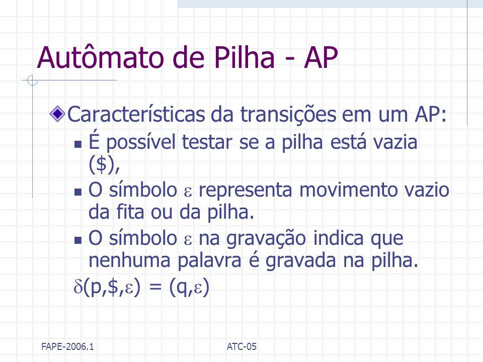 FAPE-2006.1ATC-05 Autômato de Pilha - AP Características da transições em um AP: É possível testar se a pilha está vazia ($), O símbolo representa mov