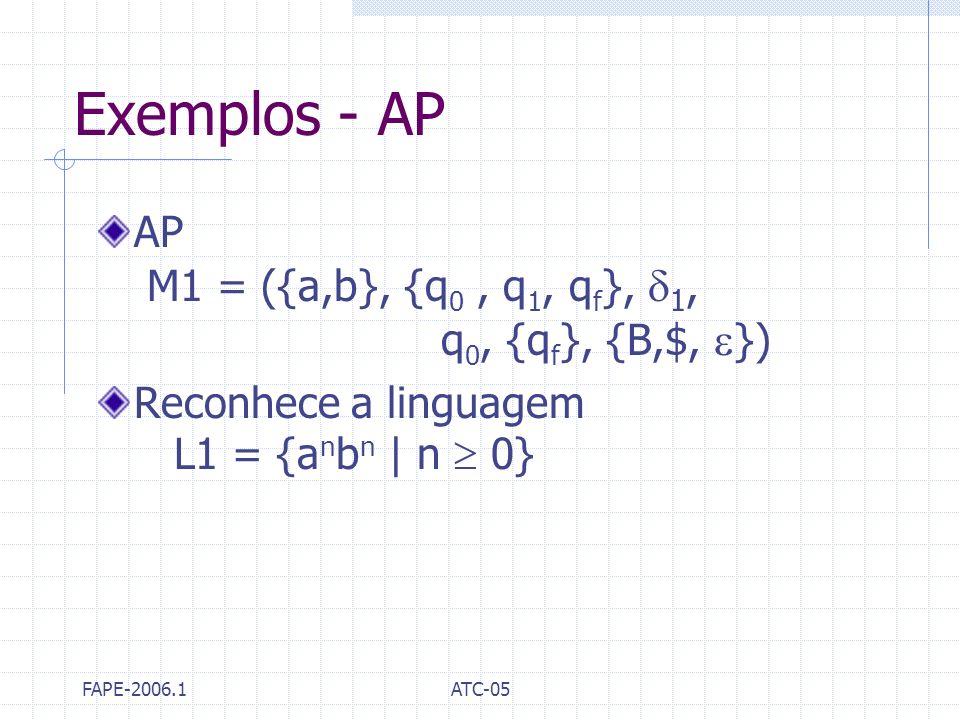FAPE-2006.1ATC-05 Exemplos - AP AP M1 = ({a,b}, {q 0, q 1, q f }, 1, q 0, {q f }, {B,$, }) Reconhece a linguagem L1 = {a n b n | n 0}