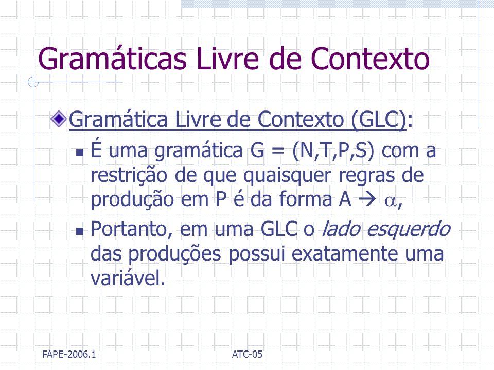FAPE-2006.1ATC-05 Gramáticas Livre de Contexto Gramática Livre de Contexto (GLC): É uma gramática G = (N,T,P,S) com a restrição de que quaisquer regra
