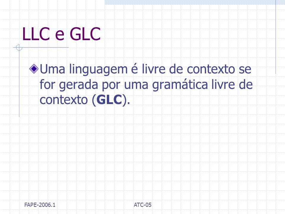 FAPE-2006.1ATC-05 LLC e GLC Uma linguagem é livre de contexto se for gerada por uma gramática livre de contexto (GLC).
