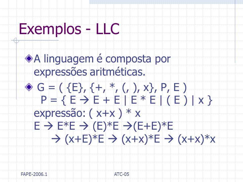 FAPE-2006.1ATC-05 Exemplos - LLC A linguagem é composta por expressões aritméticas. G = ( {E}, {+, *, (, ), x}, P, E ) P = { E E + E | E * E | ( E ) |