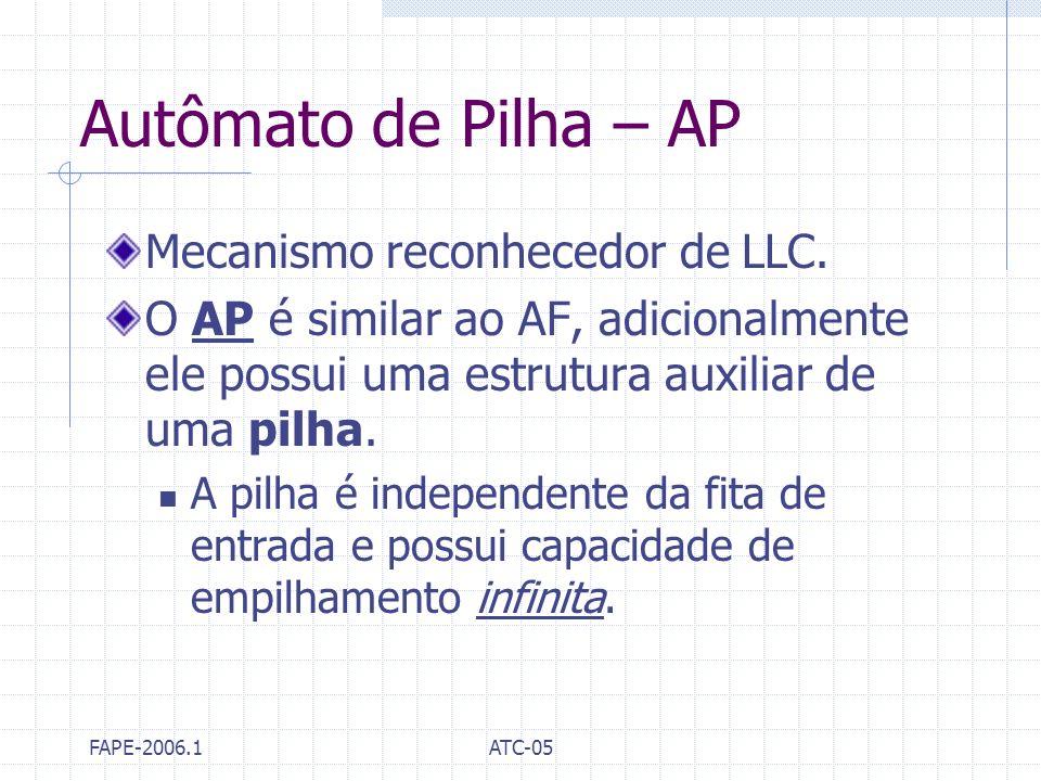 FAPE-2006.1ATC-05 Autômato de Pilha – AP Mecanismo reconhecedor de LLC. O AP é similar ao AF, adicionalmente ele possui uma estrutura auxiliar de uma