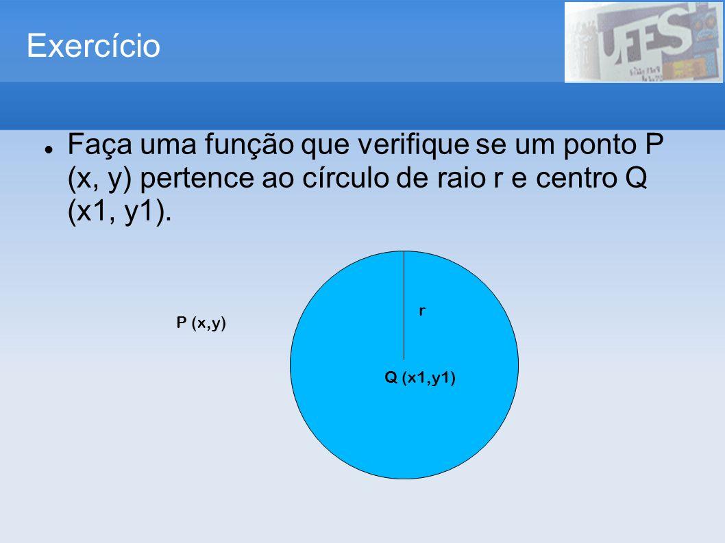 Exercício Faça uma função que verifique se um ponto P (x, y) pertence ao círculo de raio r e centro Q (x1, y1). P (x,y) Q (x1,y1) r