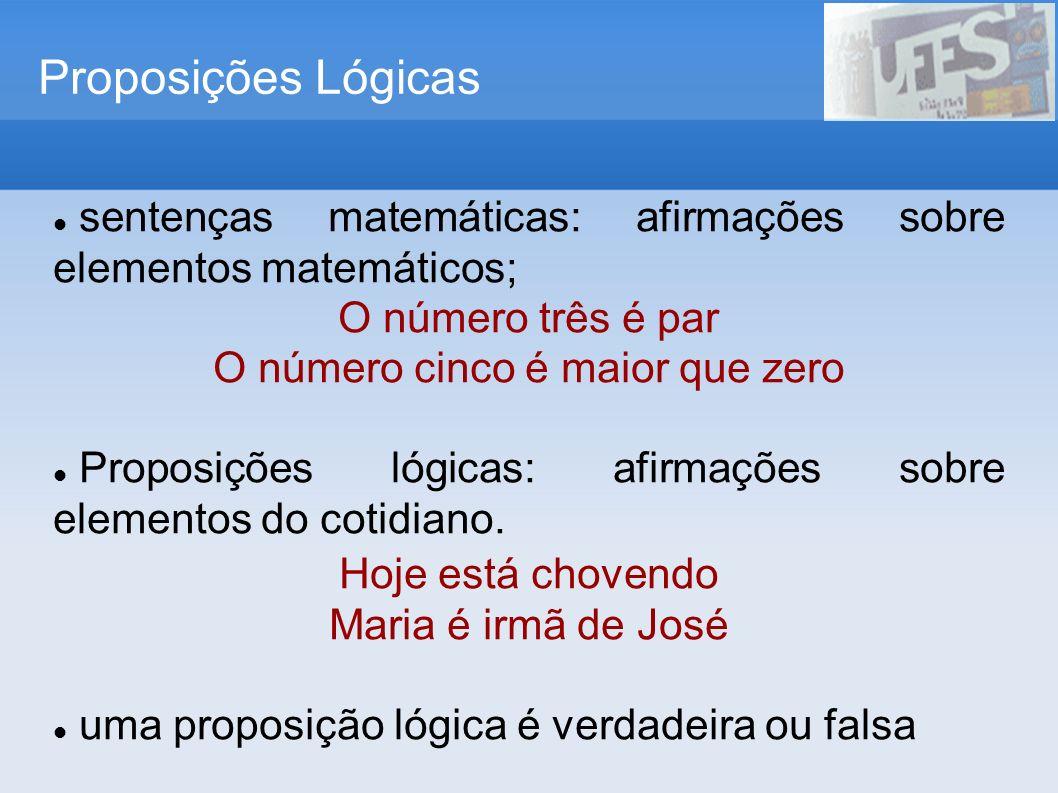 Proposições Lógicas sentenças matemáticas: afirmações sobre elementos matemáticos; O número três é par O número cinco é maior que zero Proposições lóg