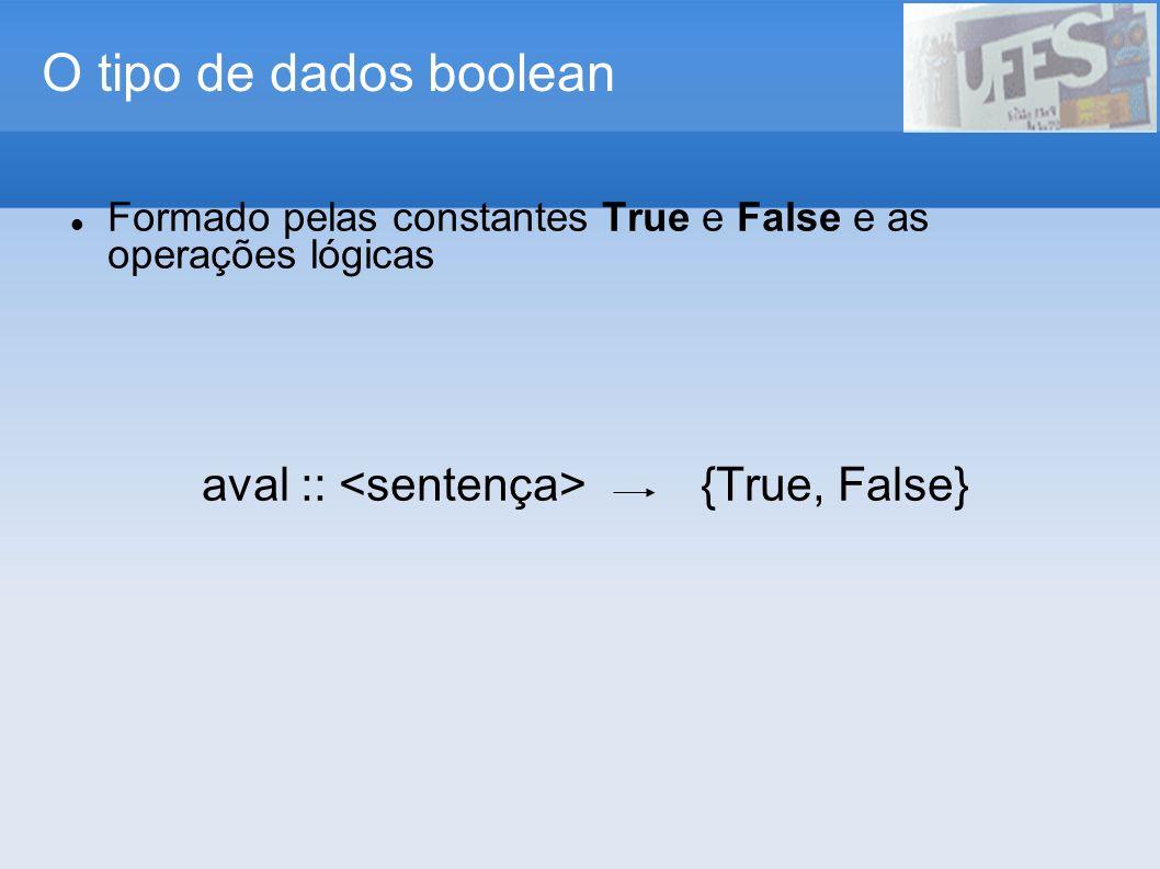O tipo de dados boolean Formado pelas constantes True e False e as operações lógicas aval :: {True, False}