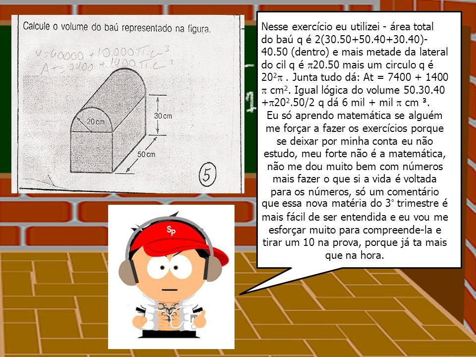 Exercícios da prova dia 15 / 09 / 09 Número: 2 - A= ( b + B ) h / 2 A= ( 1,5 + 2,5 ) 10 = 20m ² V=20.4 = 80 m ³ V=80.000 l E se pedisse a área da piscina, disse a prof.
