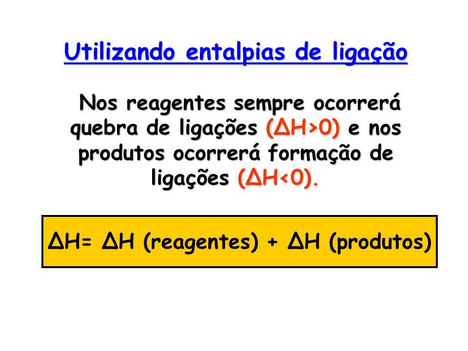 Utilizando entalpias de ligação Nos reagentes sempre ocorrerá quebra de ligações (ΔH>0) e nos produtos ocorrerá formação de ligações (ΔH0). ΔH= ΔH (re