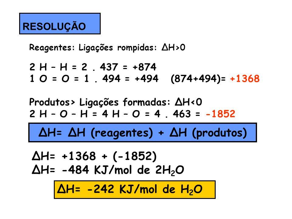 Reagentes: Ligações rompidas: ΔH>0 2 H – H = 2. 437 = +874 1 O = O = 1. 494 = +494 (874+494)= +1368 Produtos> Ligações formadas: ΔH0 2 H – O – H = 4 H