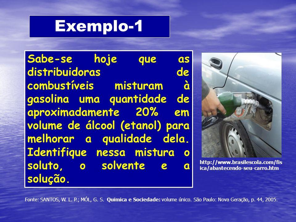 Exemplo-1 Sabe-se hoje que as distribuidoras de combustíveis misturam à gasolina uma quantidade de aproximadamente 20% em volume de álcool (etanol) pa
