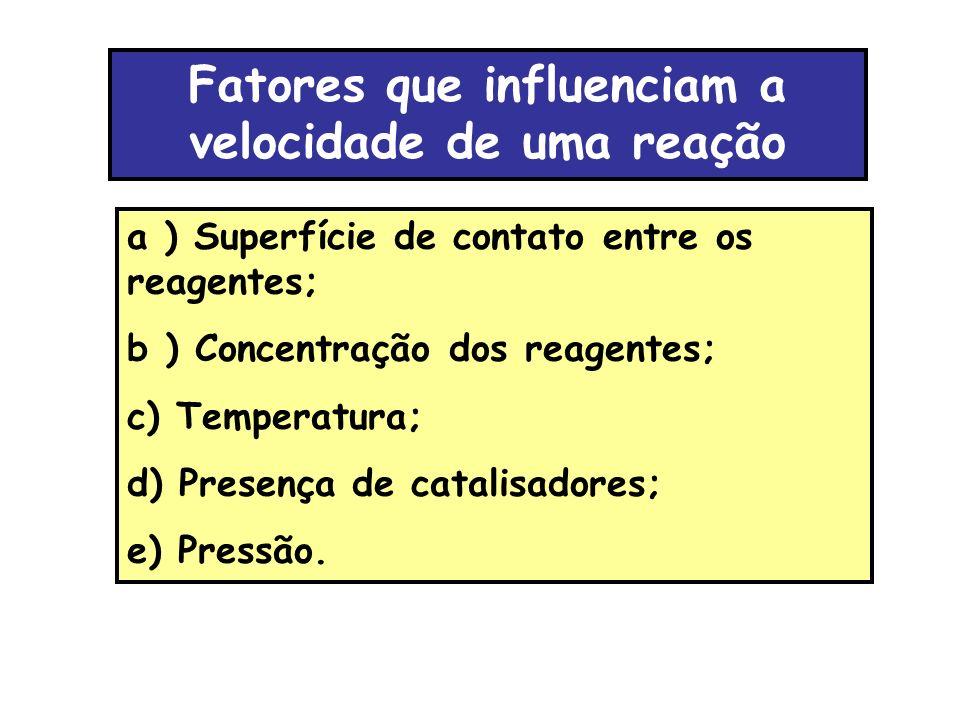 Fatores que influenciam a velocidade de uma reação a ) Superfície de contato entre os reagentes; b ) Concentração dos reagentes; c) Temperatura; d) Pr
