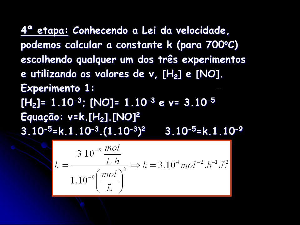 4ª etapa: Conhecendo a Lei da velocidade, podemos calcular a constante k (para 700 o C) escolhendo qualquer um dos três experimentos e utilizando os v