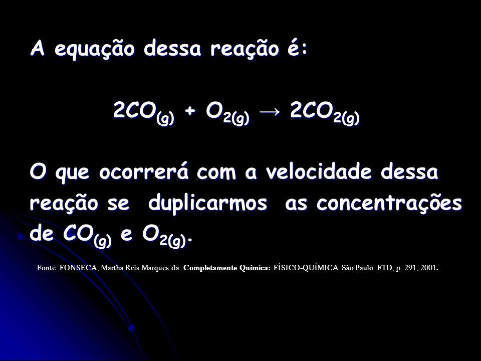 A equação dessa reação é: 2CO (g) + O 2(g) 2CO 2(g) 2CO (g) + O 2(g) 2CO 2(g) O que ocorrerá com a velocidade dessa reação se duplicarmos as concentra