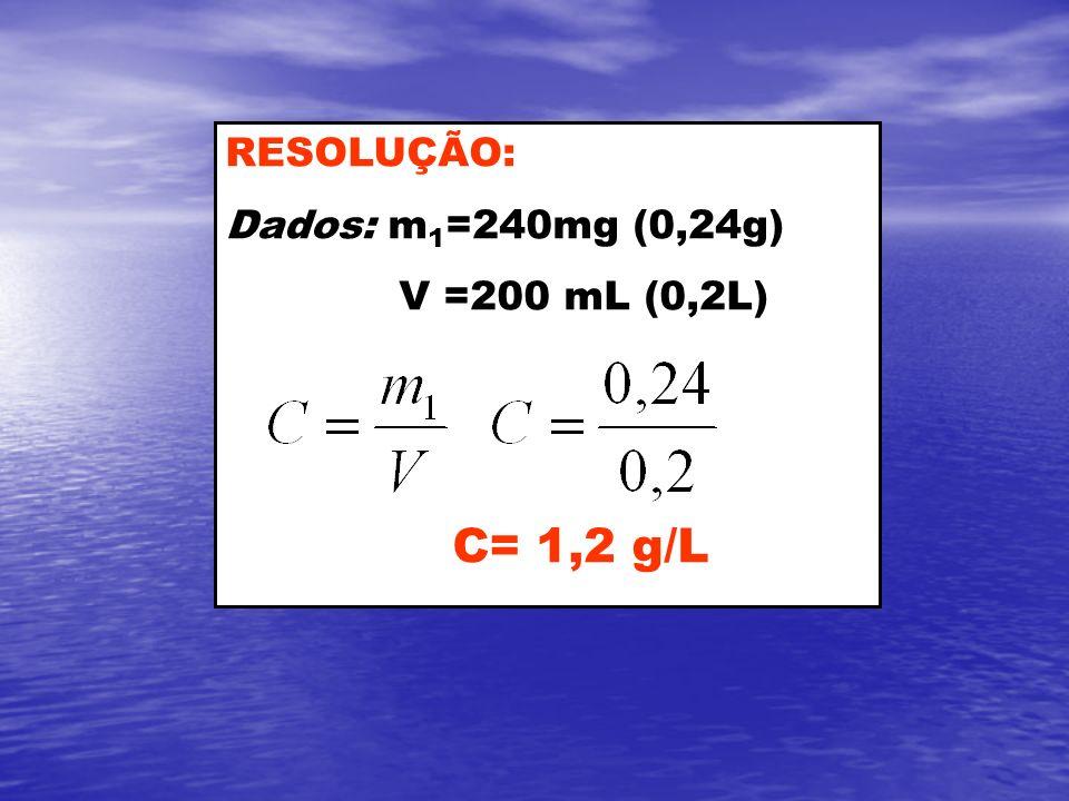 RESOLUÇÃO: Dados: m 1 =240mg (0,24g) V =200 mL (0,2L) C= 1,2 g/L