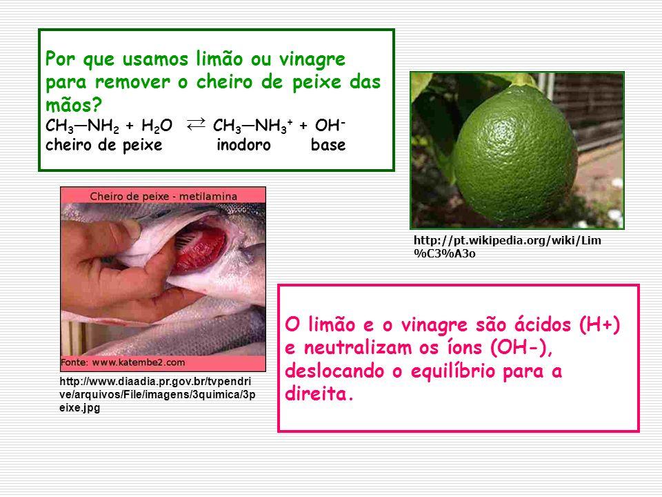 Por que usamos limão ou vinagre para remover o cheiro de peixe das mãos? CH 3 NH 2 + H 2 O CH 3 NH 3 + + OH - cheiro de peixe inodoro base O limão e o