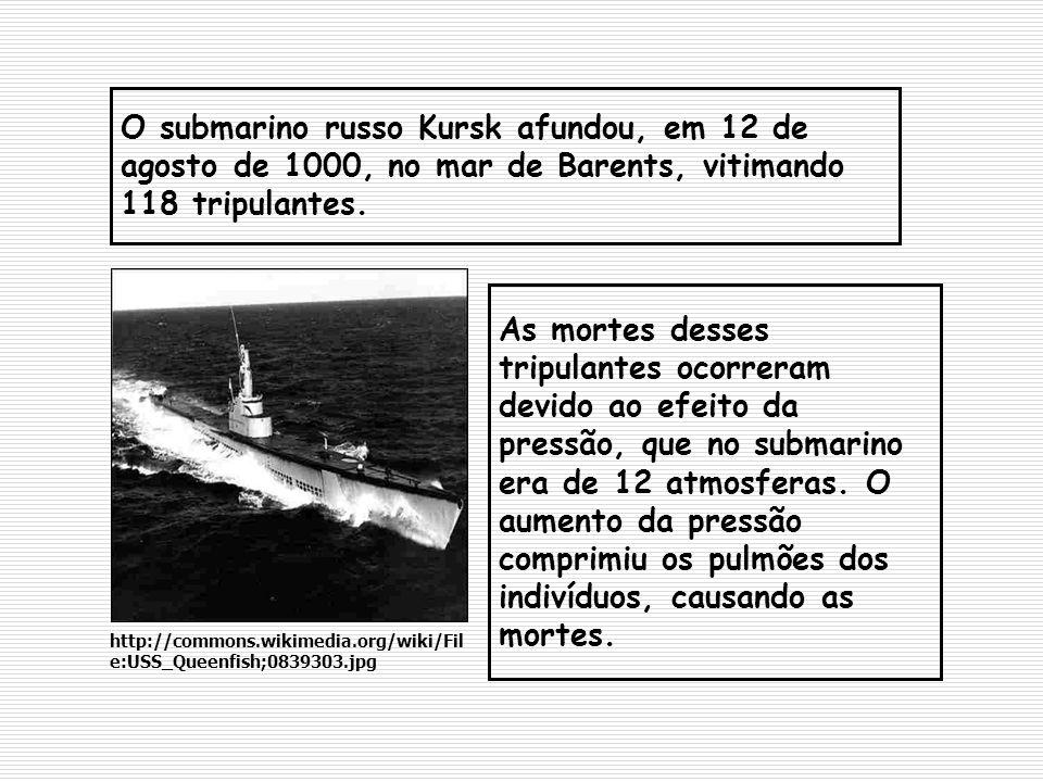 O submarino russo Kursk afundou, em 12 de agosto de 1000, no mar de Barents, vitimando 118 tripulantes. As mortes desses tripulantes ocorreram devido