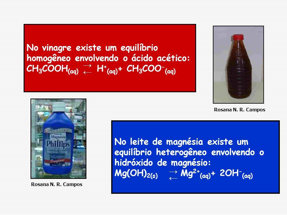 No vinagre existe um equilíbrio homogêneo envolvendo o ácido acético: CH 3 COOH (aq) H + (aq) + CH 3 COO - (aq) No leite de magnésia existe um equilíb