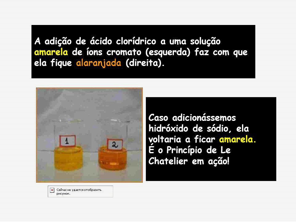 A adição de ácido clorídrico a uma solução amarela de íons cromato (esquerda) faz com que ela fique alaranjada (direita). Caso adicionássemos hidróxid