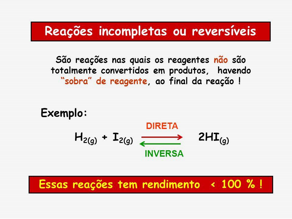 Reações incompletas ou reversíveis São reações nas quais os reagentes não são totalmente convertidos em produtos, havendo sobra de reagente, ao final