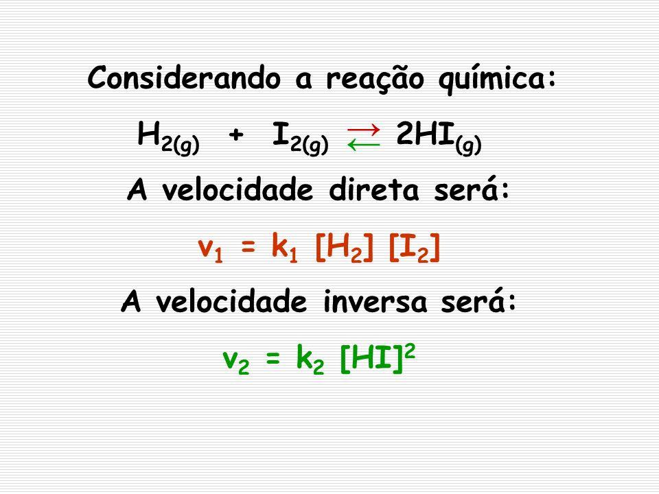 Considerando a reação química: H 2(g) + I 2(g) 2HI (g) A velocidade direta será: v 1 = k 1 [H 2 ] [I 2 ] A velocidade inversa será: v 2 = k 2 [HI] 2