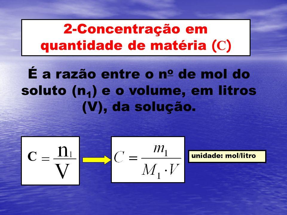 2-Concentração em quantidade de matéria ( C ) É a razão entre o n o de mol do soluto (n 1 ) e o volume, em litros (V), da solução. unidade: mol/litro