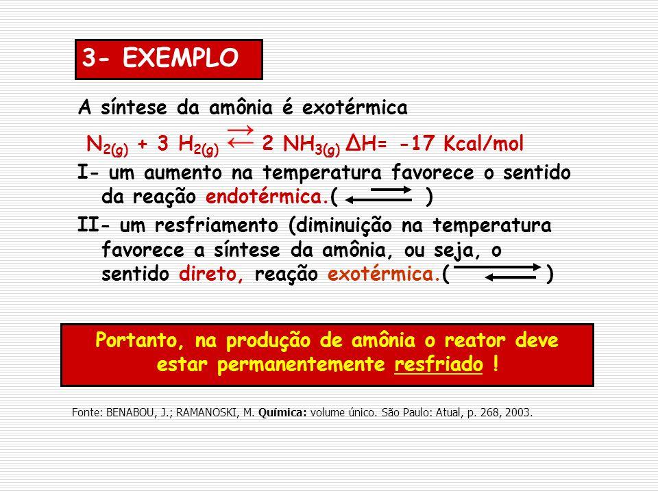 Portanto, na produção de amônia o reator deve estar permanentemente resfriado ! 3- EXEMPLO A síntese da amônia é exotérmica N 2(g) + 3 H 2(g) 2 NH 3(g