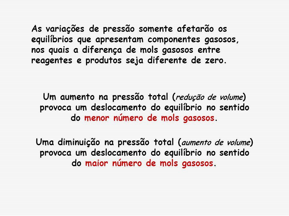 Um aumento na pressão total ( redução de volume ) provoca um deslocamento do equilíbrio no sentido do menor número de mols gasosos. Uma diminuição na