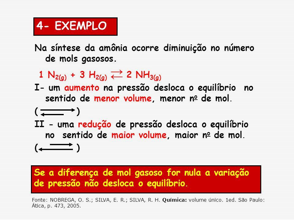 Se a diferença de mol gasoso for nula a variação de pressão não desloca o equilíbrio. 4- EXEMPLO Na síntese da amônia ocorre diminuição no número de m