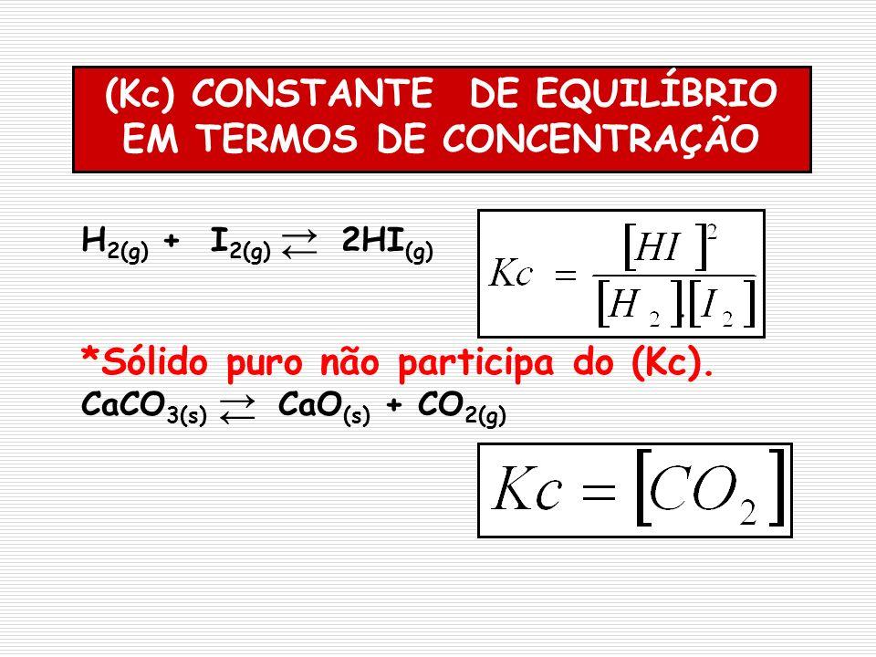 H 2(g) + I 2(g) 2HI (g) *Sólido puro não participa do (Kc). CaCO 3(s) CaO (s) + CO 2(g) (Kc) CONSTANTE DE EQUILÍBRIO EM TERMOS DE CONCENTRAÇÃO