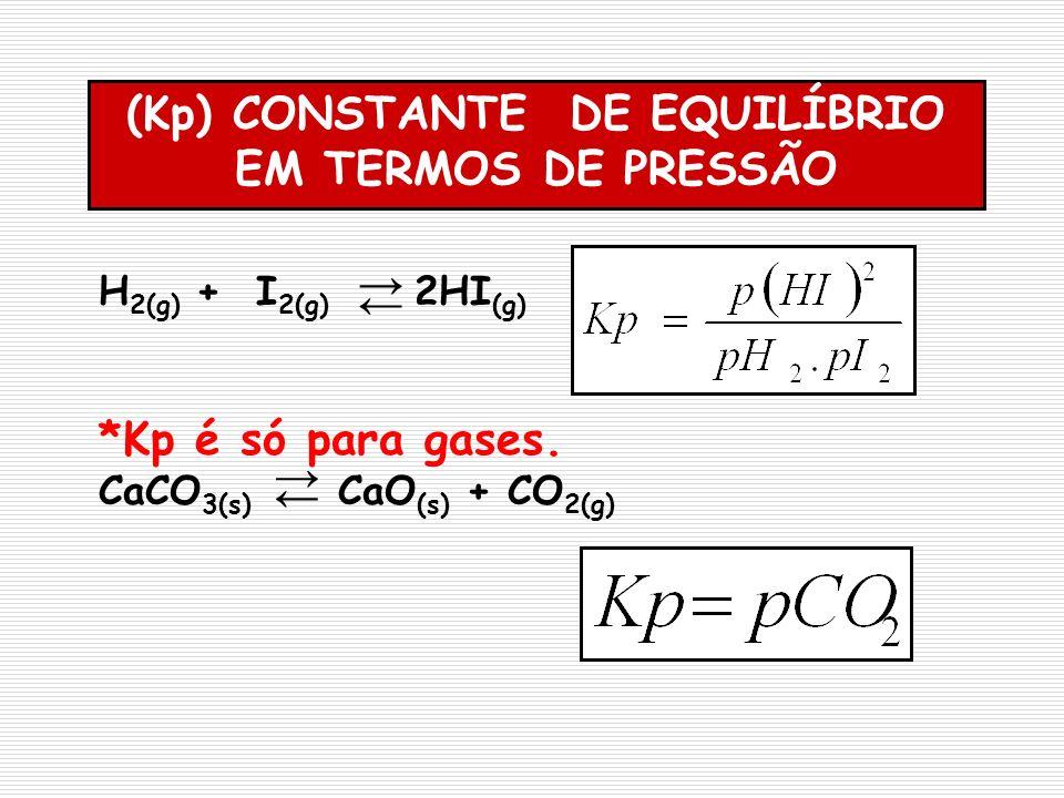H 2(g) + I 2(g) 2HI (g) *Kp é só para gases. CaCO 3(s) CaO (s) + CO 2(g) (Kp) CONSTANTE DE EQUILÍBRIO EM TERMOS DE PRESSÃO