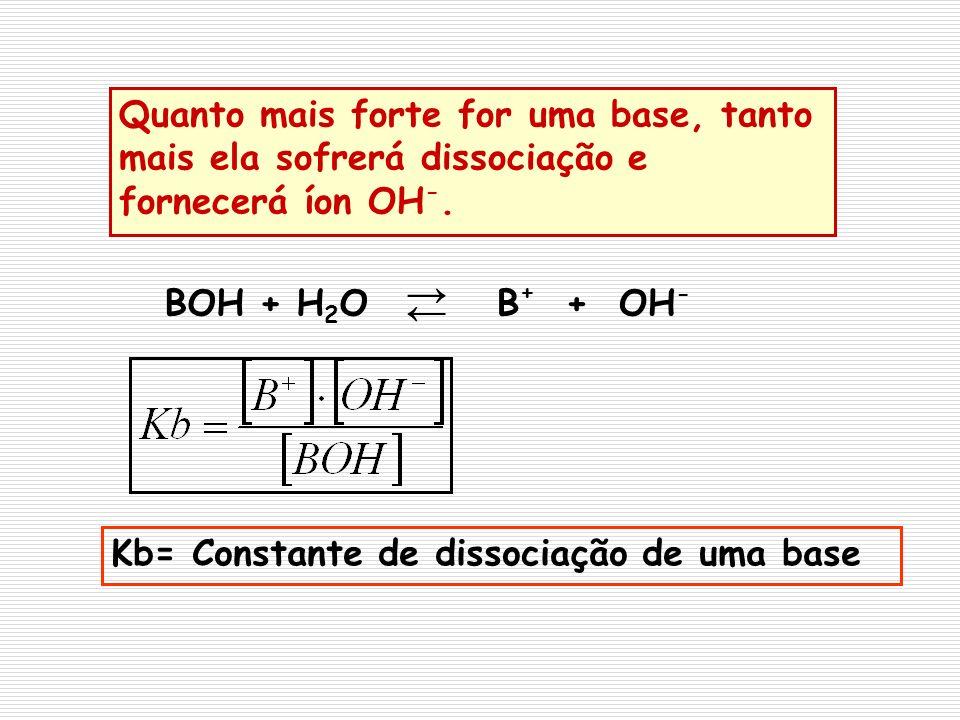 Quanto mais forte for uma base, tanto mais ela sofrerá dissociação e fornecerá íon OH -. BOH + H 2 OB + + OH - Kb= Constante de dissociação de uma bas
