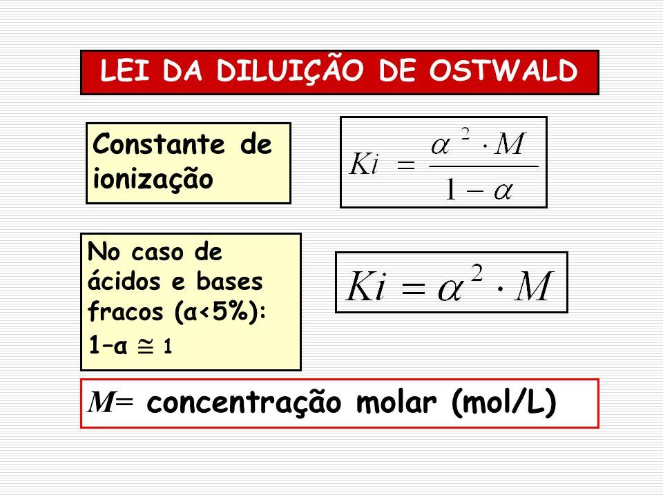 Constante de ionização LEI DA DILUIÇÃO DE OSTWALD No caso de ácidos e bases fracos (α<5%): 1–α 1 M= concentração molar (mol/L)