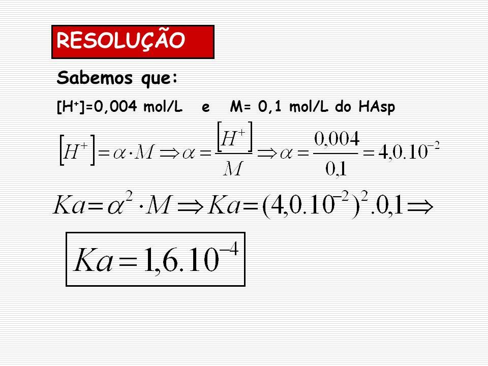 RESOLUÇÃO Sabemos que: [H + ]=0,004 mol/L e M= 0,1 mol/L do HAsp