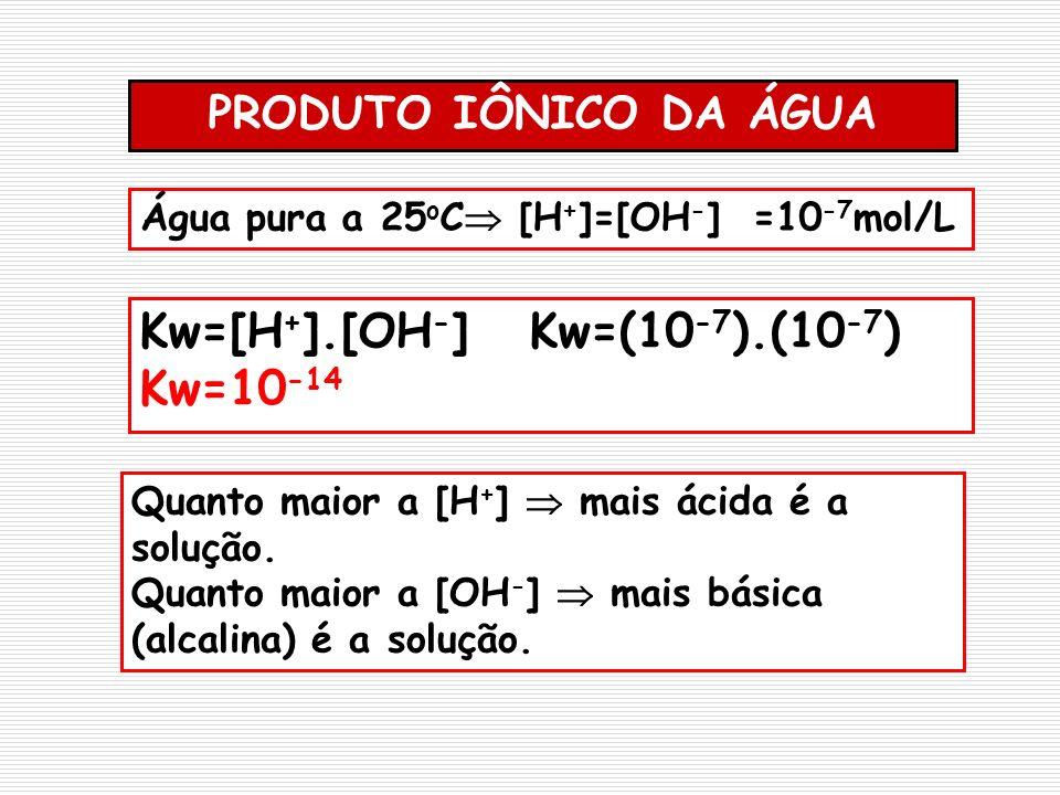 PRODUTO IÔNICO DA ÁGUA Água pura a 25 o C [H + ]=[OH - ] =10 -7 mol/L Kw=[H + ].[OH - ] Kw=(10 -7 ).(10 -7 ) Kw=10 -14 Quanto maior a [H + ] mais ácid