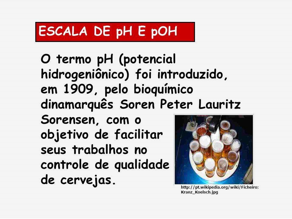O termo pH (potencial hidrogeniônico) foi introduzido, em 1909, pelo bioquímico dinamarquês Soren Peter Lauritz Sorensen, com o objetivo de facilitar