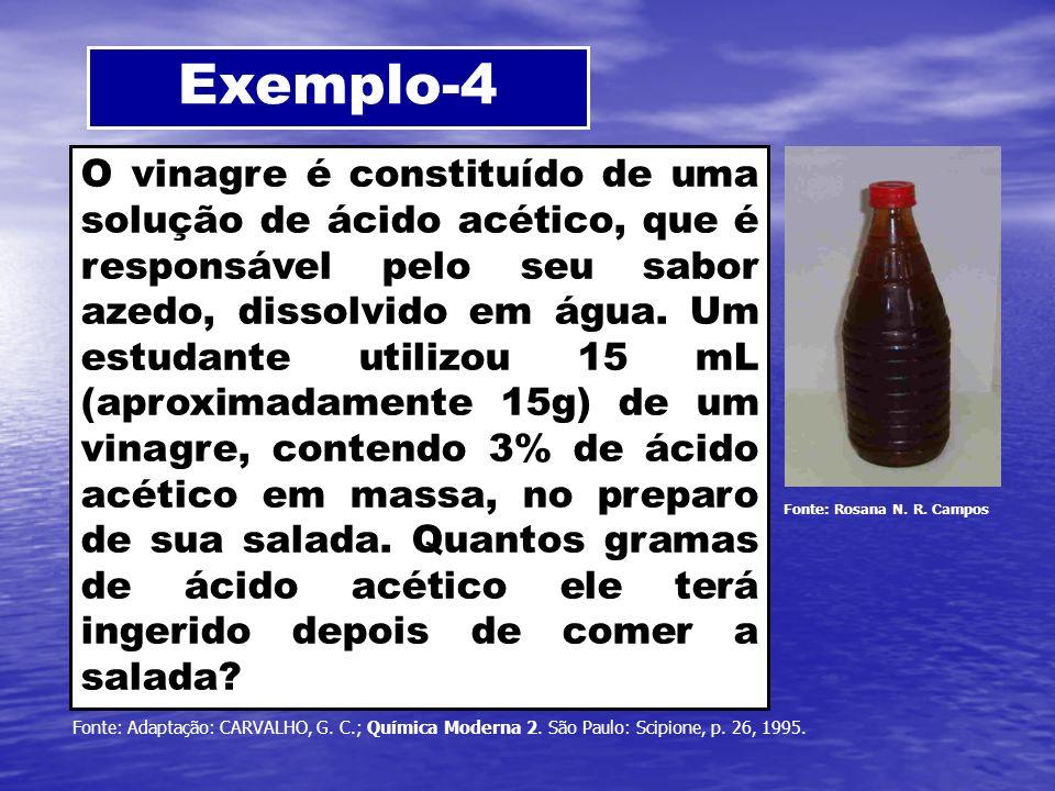 Exemplo-4 O vinagre é constituído de uma solução de ácido acético, que é responsável pelo seu sabor azedo, dissolvido em água. Um estudante utilizou 1